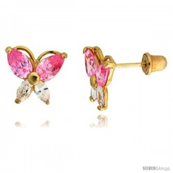 "14k Yellow Gold 5/16"" (8mm) tall Butterfly Stud Earrings, w/ Marquise Cut Clear & Pear Cut Pink Tourmaline-colored CZ Stones"