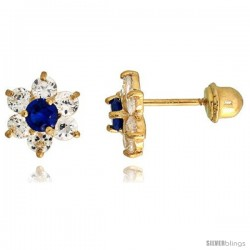 """14k Yellow Gold 1/4"""" (7mm) tall Flower Stud Earrings, w/ Brilliant Cut Clear & Blue Sapphire-colored CZ Stones"""