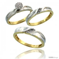 10k Yellow Gold Diamond Trio Engagement Wedding Ring 3-piece Set for Him & Her 5 mm & 3.5 mm wide 0.11 cttw Brilliant Cut