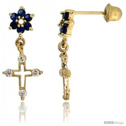 "14k Yellow Gold 11/16"" (18mm) tall Flower & Cross Dangling Earrings, w/ Brilliant Cut Clear & Blue Sapphire-colored CZ Stones"