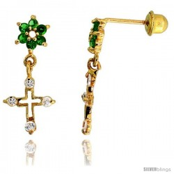 "14k Yellow Gold 11/16"" (18mm) tall Flower & Cross Dangling Earrings, w/ Brilliant Cut Clear & Emerald-colored CZ Stones"