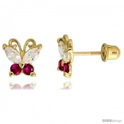 "14k Yellow Gold 1/4"" (7mm) tall Tiny Butterfly Stud Earrings, w/ Marquise Cut Clear & Brilliant Cut Ruby-colored CZ Stones"