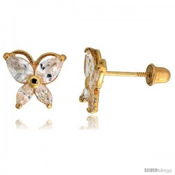 "14k Yellow Gold 5/16"" (8mm) tall Butterfly Stud Earrings, w/ Marquise & Pear Cut CZ Stones"