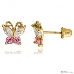 "14k Yellow Gold 1/4"" (7mm) tall Tiny Butterfly Stud Earrings, w/ Marquise Cut Clear & Brilliant Cut Pink Tourmaline-colored CZ"