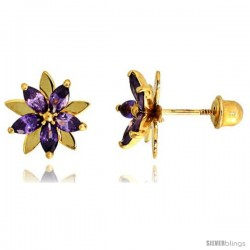 "14k Yellow Gold 3/8"" (9mm) tall Flower Stud Earrings, w/ Marquise Cut Amethyst-colored CZ Stones"