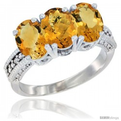 14K White Gold Natural Whisky Quartz & Citrine Sides Ring 3-Stone 7x5 mm Oval Diamond Accent
