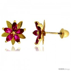 "14k Yellow Gold 3/8"" (9mm) tall Flower Stud Earrings, w/ Marquise Cut Ruby-colored CZ Stones"