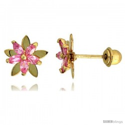 "14k Yellow Gold 5/16"" (8mm) tall Flower Stud Earrings, w/ Marquise Cut Pink Tourmaline-colored CZ Stones"
