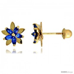 "14k Yellow Gold 5/16"" (8mm) tall Flower Stud Earrings, w/ Marquise Cut Blue Sapphire-colored CZ Stones"