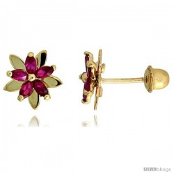 "14k Yellow Gold 5/16"" (8mm) tall Flower Stud Earrings, w/ Marquise Cut Ruby-colored CZ Stones"