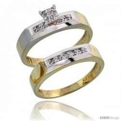 10k Yellow Gold Diamond Engagement Rings Set 2-Piece 0.10 cttw Brilliant Cut, 3/16 in wide -Style 10y009e2