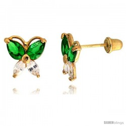 "14k Yellow Gold 5/16"" (8mm) tall Butterfly Stud Earrings, w/ Marquise Cut Clear & Pear Cut Emerald-colored CZ Stones"