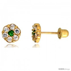 "14k Yellow Gold 1/4"" (6mm) tall Tiny Flower Stud Earrings, w/ Brilliant Cut Clear & Emerald-colored CZ Stones"