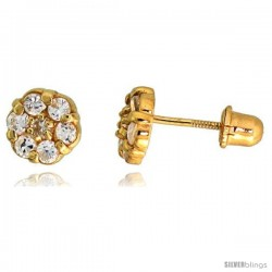 "14k Yellow Gold 1/4"" (6mm) tall Tiny Flower Stud Earrings, w/ Brilliant Cut CZ Stones"