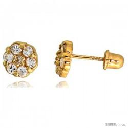"14k Yellow Gold 1/4"" (6mm) tall Tiny Flower Stud Earrings, w/ Brilliant Cut CZ Stones"