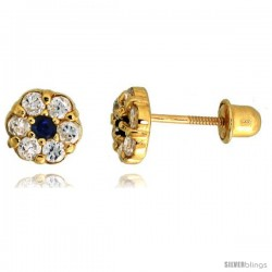 "14k Yellow Gold 1/4"" (6mm) tall Tiny Flower Stud Earrings, w/ Brilliant Cut Clear & Blue Sapphire-colored CZ Stones"