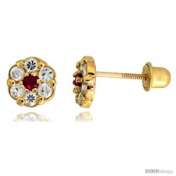 "14k Yellow Gold 1/4"" (6mm) tall Tiny Flower Stud Earrings, w/ Brilliant Cut Clear & Ruby-colored CZ Stones"