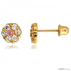 "14k Yellow Gold 1/4"" (6mm) tall Tiny Flower Stud Earrings, w/ Brilliant Cut Clear & Pink Tourmaline-colored CZ Stones"