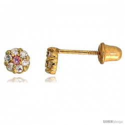 "14k Yellow Gold 7/32"" (4mm) tall Tiny Flower Stud Earrings, w/ Brilliant Cut Clear & Pink Tourmaline-colored CZ Stones"