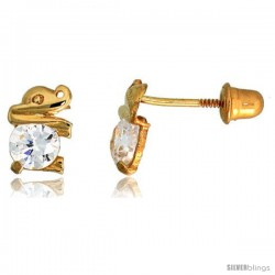 "14k Yellow Gold 1/4"" (7mm) tall Tiny Elephant Stud Earrings, w/ Brilliant Cut CZ Stone"