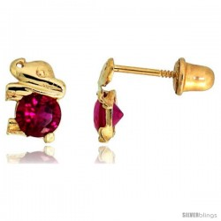 "14k Yellow Gold 1/4"" (7mm) tall Tiny Elephant Stud Earrings, w/ Brilliant Cut Ruby-colored CZ Stone"