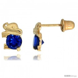 "14k Yellow Gold 1/4"" (7mm) tall Tiny Elephant Stud Earrings, w/ Brilliant Cut Blue Sapphire-colored CZ Stone"