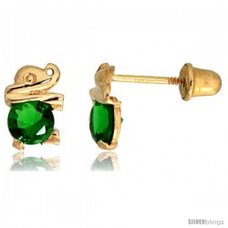 "14k Yellow Gold 1/4"" (7mm) tall Tiny Elephant Stud Earrings, w/ Brilliant Cut Emerald-colored CZ Stone"