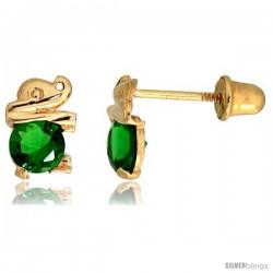 "14k Yellow Gold 1/4"" (7mm) tall Tiny Elephant Stud Earrings, w/ Brilliant Cut Emerald-colored CZ Stone"