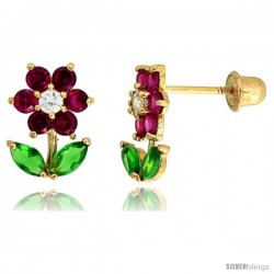 """14k Yellow Gold 3/8"""" (10mm) tall Flower w/ Leaves Stud Earrings, w/ Brilliant Cut Clear, Brilliant Cut Ruby-colored & Marquise"""