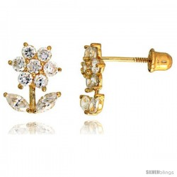"14k Yellow Gold 3/8"" (10mm) tall Flower w/ Leaves Stud Earrings, w/ Brilliant Cut & Marquise Cut CZ Stones"