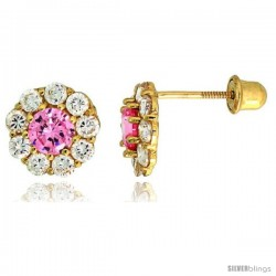 "14k Yellow Gold 5/16"" (8mm) tall Flower Stud Earrings, w/ Brilliant Cut Clear & Pink Sapphire-colored CZ Stones"