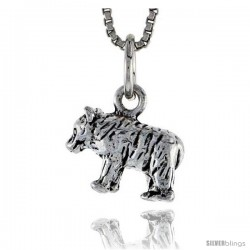 Sterling Silver Bear Pendant, 1/2 in wide