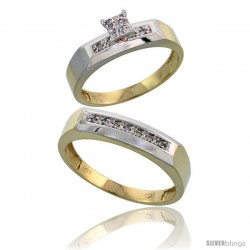 10k Yellow Gold Diamond Engagement Rings 2-Piece Set for Men and Women 0.11 cttw Brilliant Cut, 4.5mm & 5mm wide