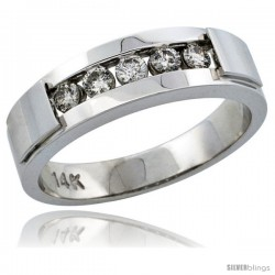 14k White Gold 5-Stone Men's Diamond Ring Band w/ 0.40 Carat Brilliant Cut Diamonds, 1/4 in. (6mm) wide