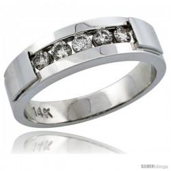 14k White Gold 5-Stone Men's Diamond Ring Band w/ 0.40 Carat Brilliant Cut Diamonds, 1/4 in. (6mm) wide