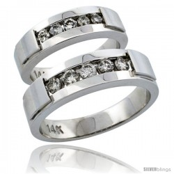 14k White Gold 2-Piece His (6mm) & Hers (5mm) Diamond Wedding Ring Band Set w/ 0.61 Carat Brilliant Cut Diamonds