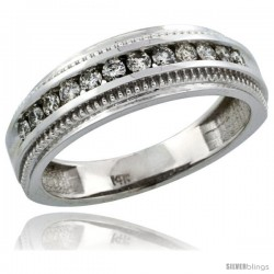 14k White Gold 12-Stone Milgrain Design Ladies' Diamond Ring Band w/ 0.31 Carat Brilliant Cut Diamonds, 1/4 in. (6mm) wide