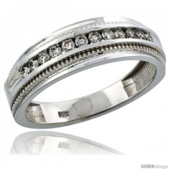 14k White Gold 12-Stone Milgrain Design Men's Diamond Ring Band w/ 0.31 Carat Brilliant Cut Diamonds, 1/4 in. (7mm) wide