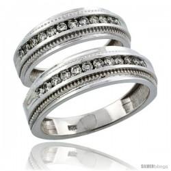 14k White Gold 2-Piece His (7mm) & Hers (6mm) Milgrain Design Diamond Wedding Ring Band Set w/ 0.62 Carat Brilliant Cut Diamonds