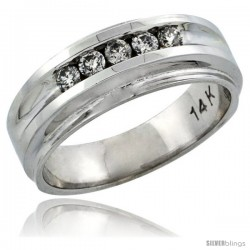 14k White Gold 5-Stone Ladies' Diamond Ring Band w/ 0.23 Carat Brilliant Cut Diamonds, 1/4 in. (7mm) wide