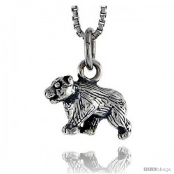 Sterling Silver Bear Pendant, 1/2 in wide -Style Pa1464