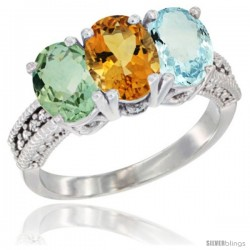 14K White Gold Natural Green Amethyst, Citrine & Aquamarine Ring 3-Stone 7x5 mm Oval Diamond Accent