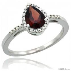 10k White Gold Diamond Garnet Ring 0.59 ct Tear Drop 7x5 Stone 3/8 in wide