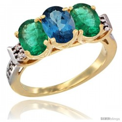10K Yellow Gold Natural London Blue Topaz & Emerald Sides Ring 3-Stone Oval 7x5 mm Diamond Accent