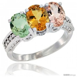 14K White Gold Natural Green Amethyst, Citrine & Morganite Ring 3-Stone 7x5 mm Oval Diamond Accent