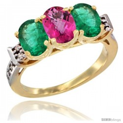 10K Yellow Gold Natural Pink Topaz & Emerald Sides Ring 3-Stone Oval 7x5 mm Diamond Accent