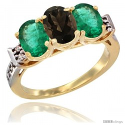 10K Yellow Gold Natural Smoky Topaz & Emerald Sides Ring 3-Stone Oval 7x5 mm Diamond Accent
