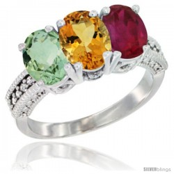 14K White Gold Natural Green Amethyst, Citrine & Ruby Ring 3-Stone 7x5 mm Oval Diamond Accent