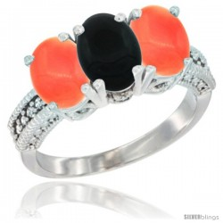 14K White Gold Natural Black Onyx Ring with Coral 3-Stone 7x5 mm Oval Diamond Accent