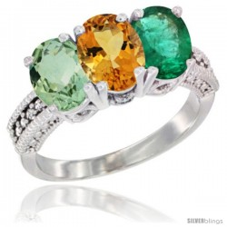 14K White Gold Natural Green Amethyst, Citrine & Emerald Ring 3-Stone 7x5 mm Oval Diamond Accent